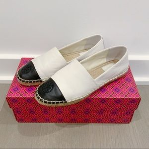 Tory Burch Leather Espadrille  Ivory/Black Size 6